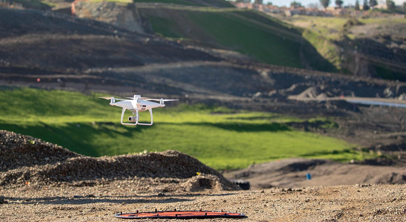 Drone for construction survey takeoff
