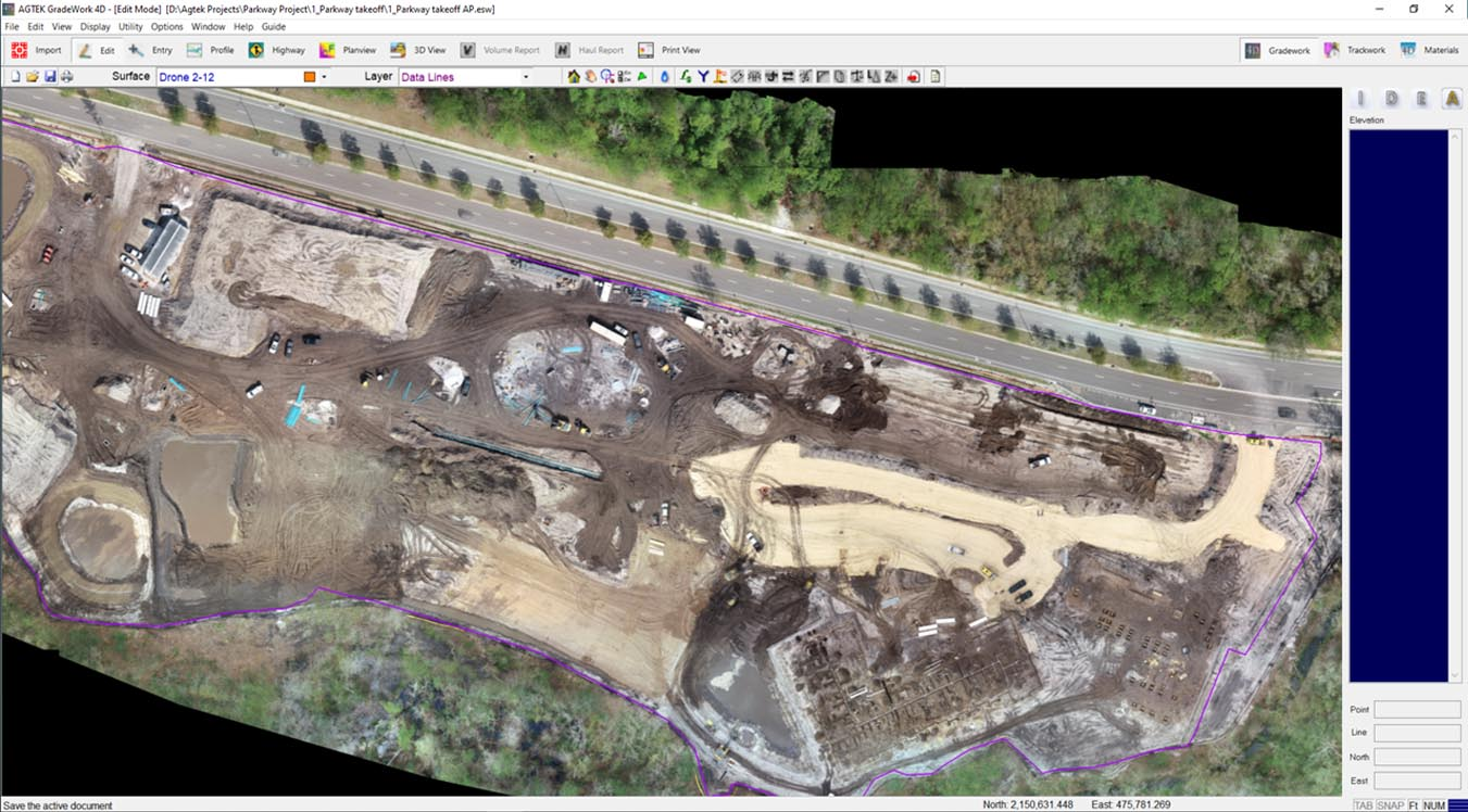 Earthwork software for drone quantities